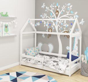 Dječji krevet Acma HOUSE2 s bočnim ogradicama white 01