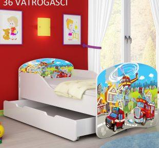 Drveni dječji krevet s ladicom 36 Vatrogasci