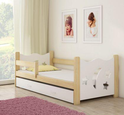 Drveni dječji krevet s ladicom bijeli