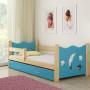 Drveni dječji krevet s ladicom plavi