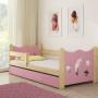 Drveni dječji krevet s ladicom rozi