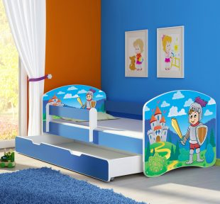 Dječji krevet plavi s bočnom stranicom i ladicom