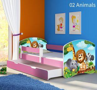 Dječji krevet rozi s bočnom stranicom i ladicom 02 Animals