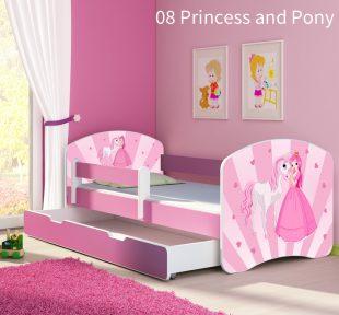 Dječji krevet rozi s bočnom stranicom i ladicom 08 Princess and Pony