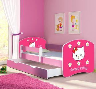 Dječji krevet rozi s bočnom stranicom i ladicom