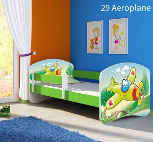 Dječji krevet zeleni s bočnom stranicom 29 Aeroplane