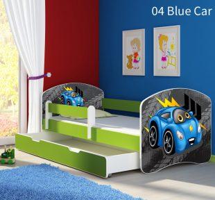 Dječji krevet zeleni s bočnom stranicom i ladicom 04 Blue Car