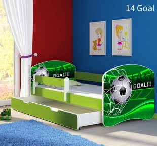Dječji krevet zeleni s bočnom stranicom i ladicom 14 Goal