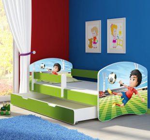 Dječji krevet zeleni s bočnom stranicom i ladicom