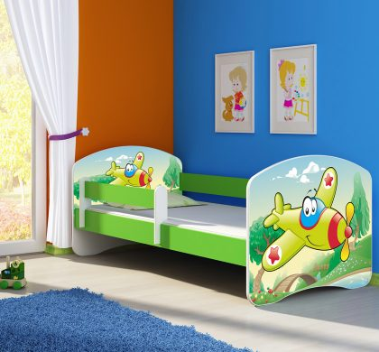 Dječji krevet zeleni s bočnom stranicom