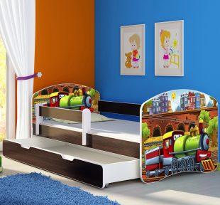 Dječji krevet wenge s bočnom stranicom i ladicom