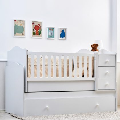 NOVA dječji krevetić 5u1 s ladicom bijeli b
