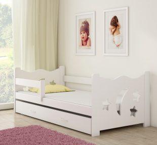 Drveni bijeli dječji krevet s ladicom bijeli