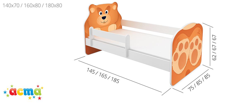 Dječji krevet ACMA, ANIMALS dimenzije